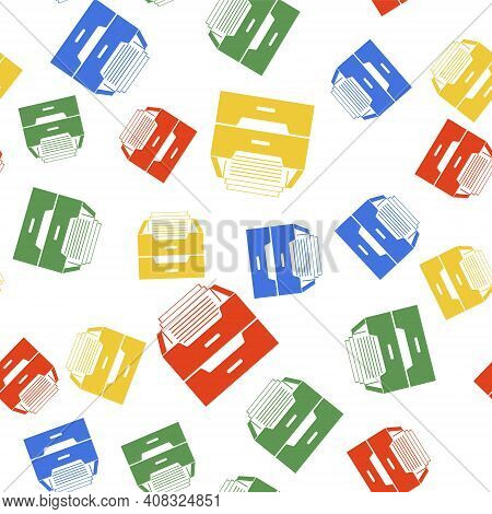Color Drawer With Documents Icon Isolated Seamless Pattern On White Background. Archive Papers Drawe