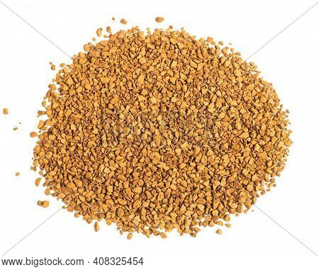 Granulated Of Soluble Coffee Isolated On  White Background