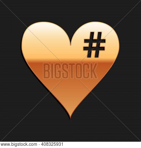 Gold The Hash Love Icon. Hashtag Heart Symbol Icon Isolated On Black Background. Long Shadow Style.