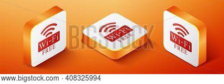 Isometric Free Wi-fi Icon Isolated On Orange Background. Wi-fi Symbol. Wireless Network Icon. Wi-fi