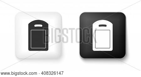 Black And White Cutting Board Icon Isolated On White Background. Chopping Board Symbol. Square Butto