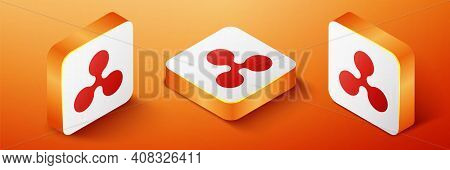 Isometric Cryptocurrency Coin Ripple Xrp Icon Isolated On Orange Background. Digital Currency. Altco