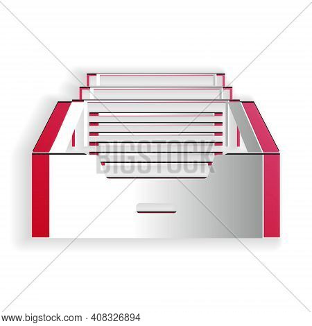 Paper Cut Drawer With Documents Icon Isolated On White Background. Archive Papers Drawer. File Cabin