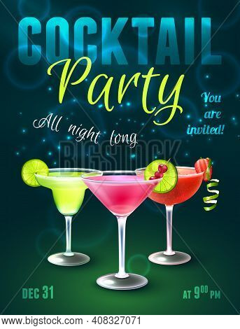 Cocktail Party Poster With Alcohol Beverages In Glasses On Dark Blue Background Vector Illustration.
