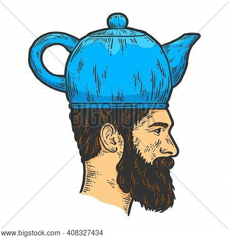 Man With Kettle Teapot Hat Engraving. Sketch Scratch Board Imitation.