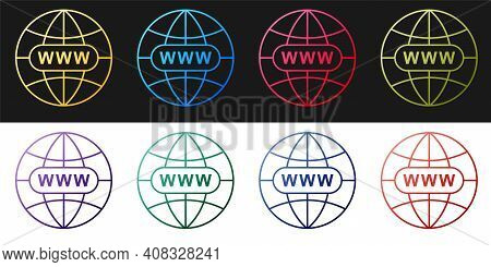Set Go To Web Icon Isolated On Black And White Background. Www Icon. Website Pictogram. World Wide W