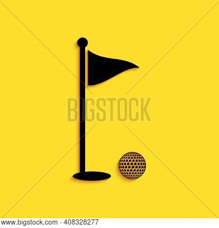 Black Golf Ball And Hole With Flag Icon Isolated On Yellow Background. Golf Course. Ball And Flagsti