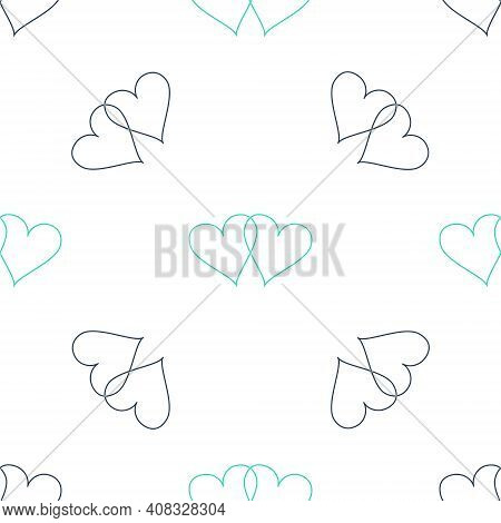 Green Two Linked Hearts Icon Isolated Seamless Pattern On White Background. Heart Two Love. Romantic