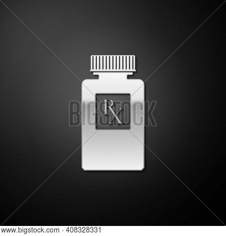 Silver Pill Bottle With Rx Sign And Pills Icon Isolated On Black Background. Pharmacy Design. Rx As