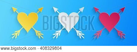 Paper Cut Heart With Arrow Icon Isolated On Blue Background. Happy Valentines Day. Cupid Dart Pierce