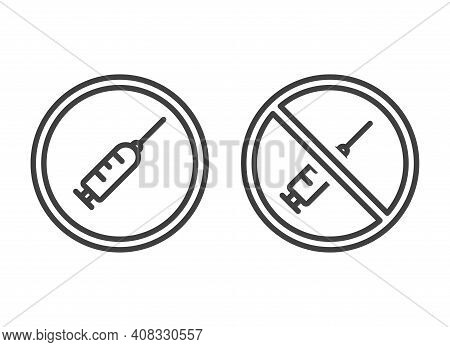 Syringe Icon In A Round Frame. Image Of Permission And Prohibition Of Injections. Isolated Vector On
