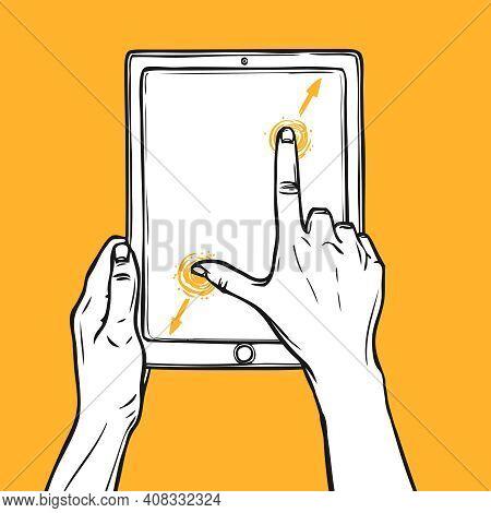Hand Holding Tablet Gadget And Pinch Gesture Sketch On Orange Background Vector Illustration.