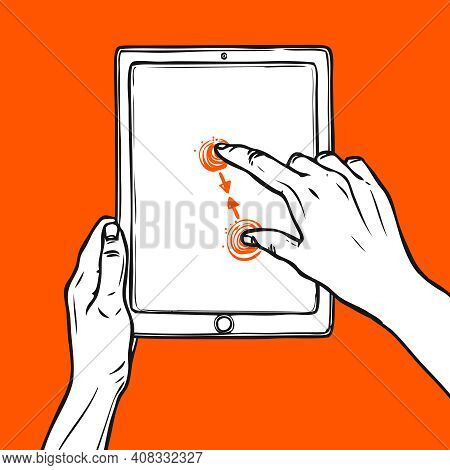 Hand Holding Tablet Portable Device And Pinch Gesture Sketch On Red Background Vector Illustration