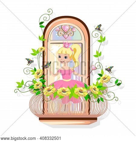 A Fabulous Balcony For The Princess Castle With A Precious Heart And Entwined With Flowers. Vector I
