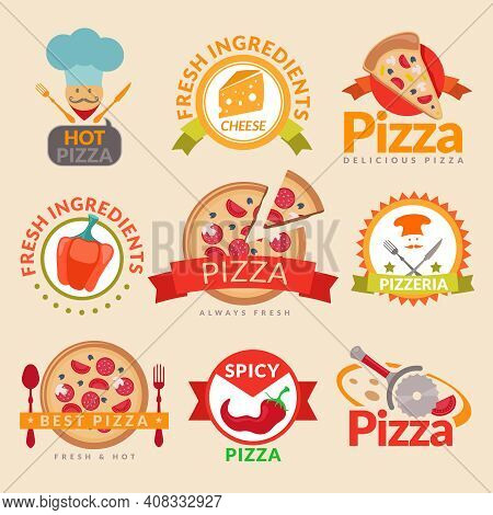 Pizzeria Hot Pizza Fresh Ingredients Spicy Delicious Food Label Set Isolated Vector Illustration