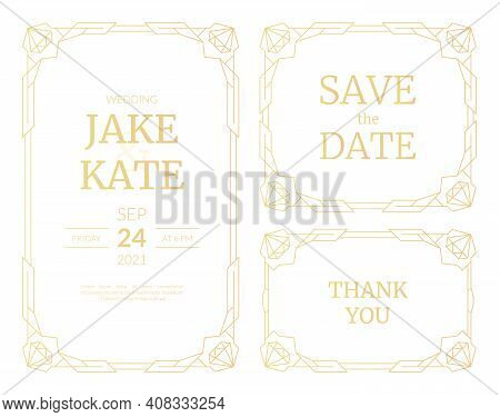 Vector Set Of Luxury Wedding Invitation Cards With Gold Gradient. Gold Frame. Line Art Deco Geometri