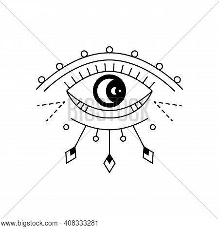 Blackwork Mystic Eye Tattoo. Providence Sight Magic Witchcraft Symbol. Evil Eye Amulet Geometric Orn