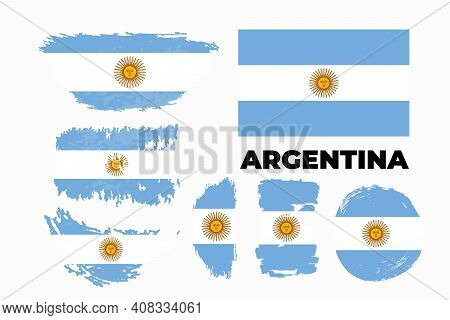 Brush Flag Of Argentina Country. Happy Independence Day Of Argentina