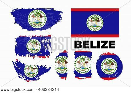 Flag Of Belize Country. Happy Independence Day Of Belize Background