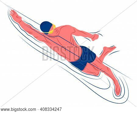 Vector Swimmer In Shadow Of Sharp Lines Style