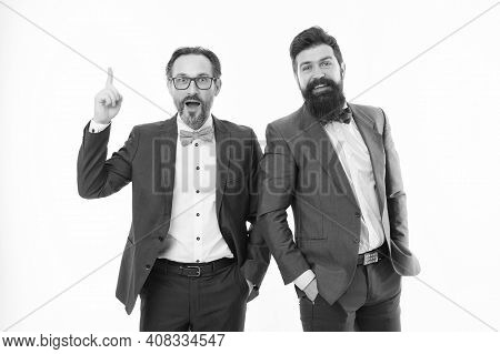 Business Team. Business People Concept. Men Bearded Formal Suits. Successful Partnership. Achieve Su