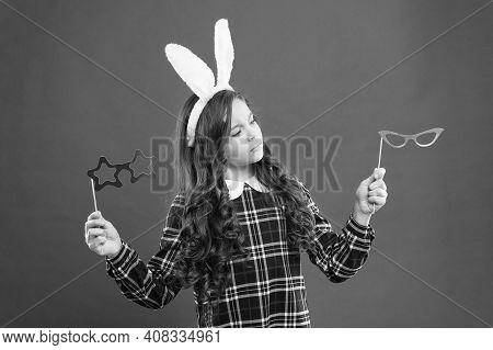 Party Element. Teen Kid In Rabbit Costume Having Fun. Happy Easter. Small Girl Wear Bunny Ears On Ea