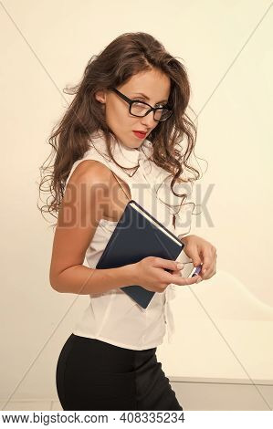Thirst Of Career Promotion. Ambitious Female In Business Office. Emancipated Woman. Woman Eyeglasses