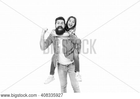 Stay Childish. Small Child And Bearded Man Enjoy Celebrating. Happy Family Celebrating Holidays. Fat