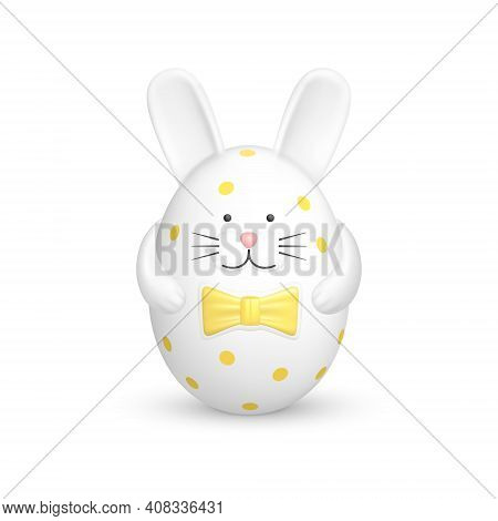 Bunny Shaped Easter Egg. Cute Image Of An Easter Decoration Object In The Form Of A White Rabbit Fig
