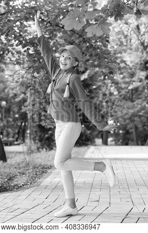 Most Wonderful Time Of The Year. Happy Kid Dance On Park Way. Enjoying Summer Holidays. School Holid