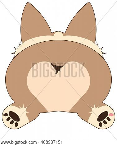 Super Cute Corgi Sploot Puppy Butt Illustration Isolated on White with Clipping Path for Sublimation Projects on Shirt, Tote Bags, Mugs.