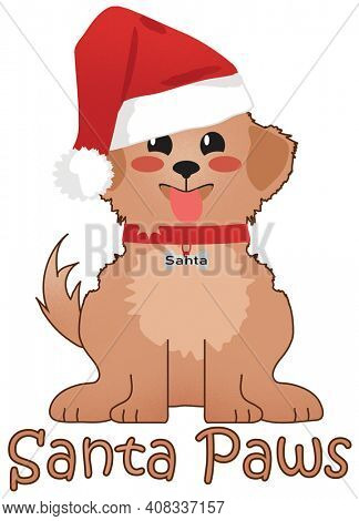 Santa Paws Puppy in Santa Hat Christmas Greeting Illustration with Clipping Path for Heat Transfer and Sublimation Design Projects.