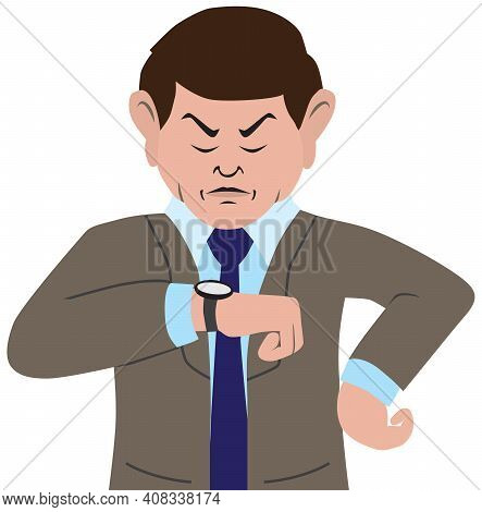 An Annoyed Cartoon Businessman Is Glaring At His Watch