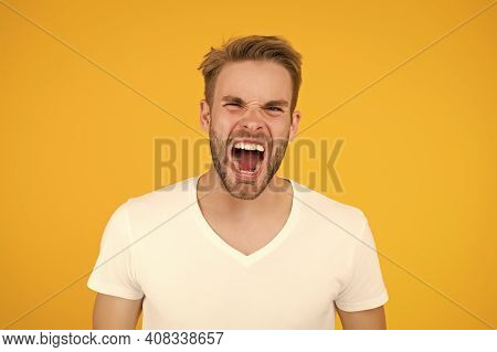 Shout Let Your Teeth Breathe. Angry Man Scream Showing Teeth. Mouth Matters. Teeth Health. Dental Hy