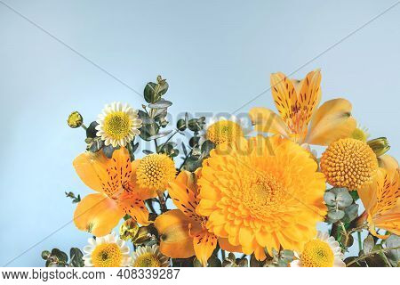 Blue Background With Yellow Blooming Flowers. Botanical Backdrop With Plants Frame And Space For You
