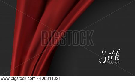 Red Fashion Background. Red Silk On Black Background. Luxury Background Template Vector Illustration