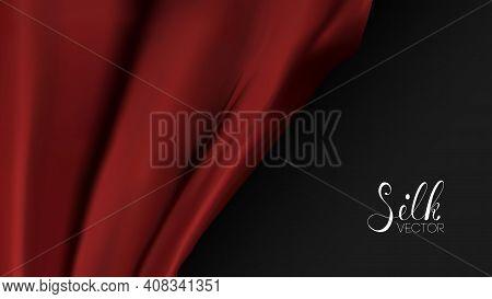 Red Silk On Black Background. Luxury Background Template Vector Illustration. Award Nomination Desig