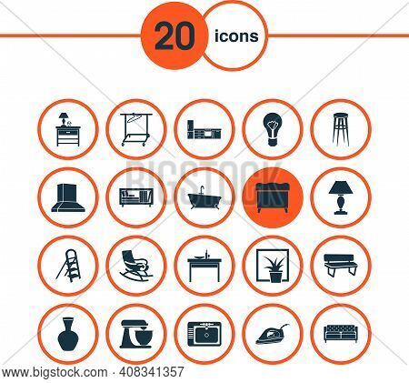 Housing Icons Set With Clothing Rack, Mixer, Kitchen Set And Other Bookcase Elements. Isolated Vecto