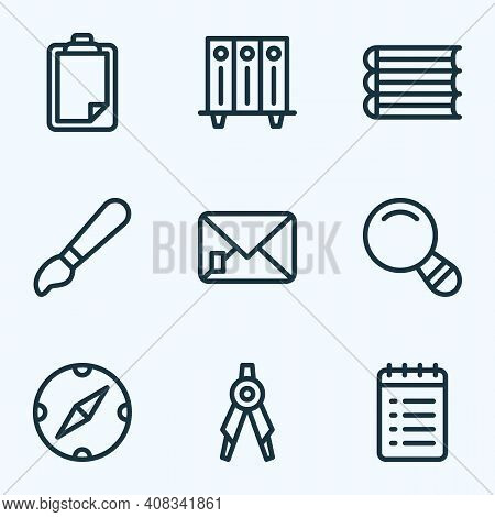 Instrument Icons Line Style Set With To Do List, Brush, Compass And Other Survey Elements. Isolated