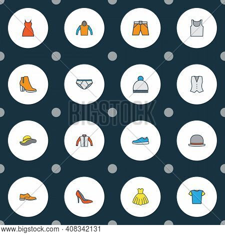 Garment Icons Colored Line Set With Boots, Hoodie, Gown And Other Jacket Elements. Isolated Vector I