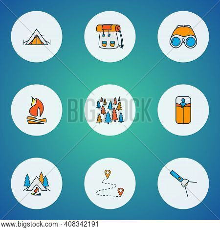 Camping Icons Colored Line Set With Flashlight, Backpack, Destination And Other Rucksack Elements. I