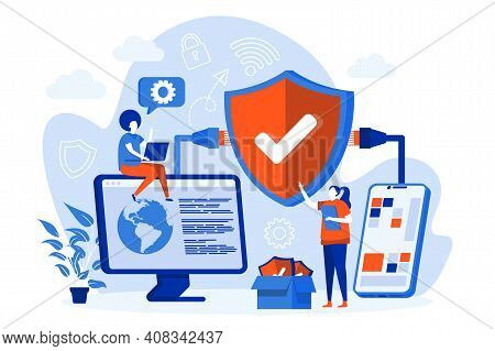 Network Security Web Concept With People. Cybersecurity Engineers Work Scene Design. Firewall And An
