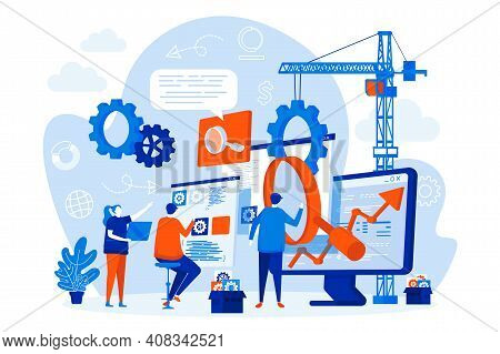 Seo Optimization Web Design With People. Seo Team Analyzing Data Scene. Website Optimization For Rel