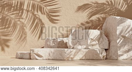 Stone Slabs Podium For Packaging And Cosmetics Presentation. Natural Beauty Pedestal With Palm Sunsh