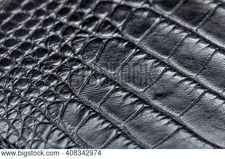 Texture Material Eco Leather With Black Crocodile Skin Pattern Dark Material Backdrop Closeup, Nobod