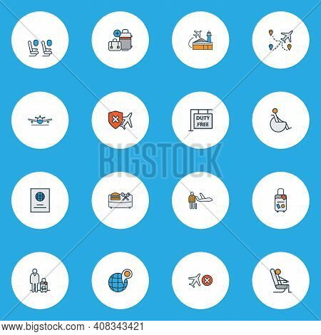 Airport Icons Colored Line Set With Passport, Hanging Board, Airport Building And Other Citizenship