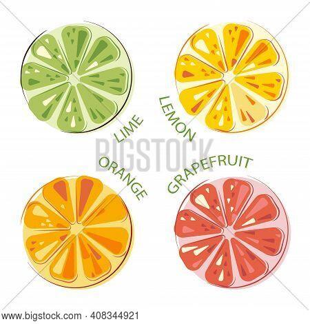 Green Juicy Lime, Lemon, Sunny Juicy Oranges, Grapefruit Set Of Whole And Cut Fruits. Colorful Citru