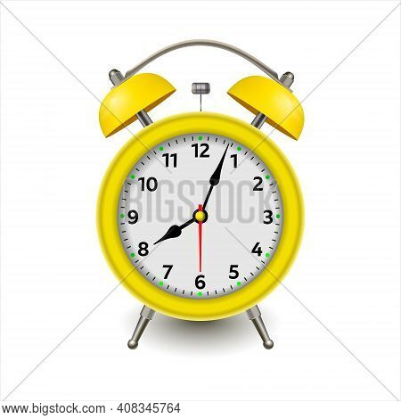 Alarm Clock. 3d Illustration Isolated On White Background. Yellow Alarm Clock Set At One Close-up. V