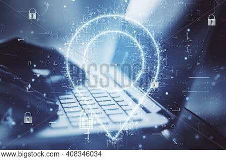 Geolocation Internet Technology With Digital Geolocation Symbol And Hands Typing On Laptop Keyboard.
