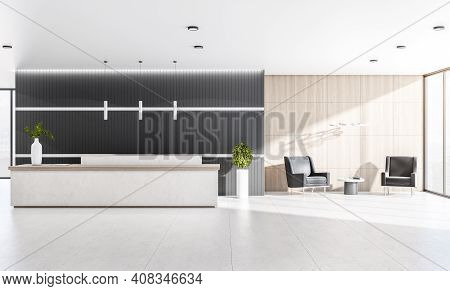 Modern Sunny Office With Cozy Waiting Area With Black Chairs, Marble Reception Desk And Floor, Dark